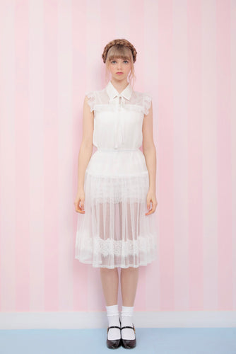 Classical tulle ribbon skirt (white) - Poupee Boutique