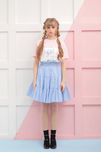 Gingham check skirt (sax) - Poupee Boutique
