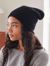 Load image into Gallery viewer, Cashmere Plush Ribbed Beanie Black