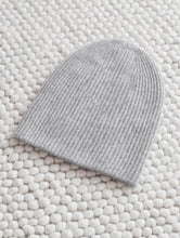 Load image into Gallery viewer, Cashmere Plush Rib Beanie Grey Heather
