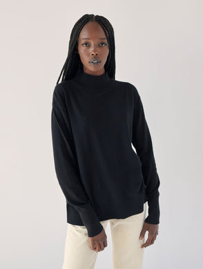 High Ribbed Turtleneck Black