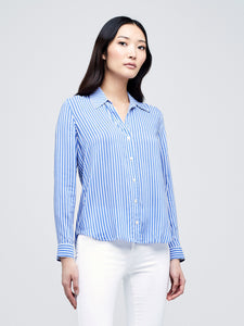 Holly Blouse Ivory/Wedgewood