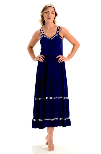 Brooke Dress Indigo Embroidered