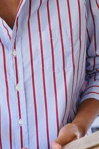 Eileen Woven Button Up Blue/Red Stripes