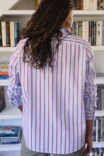 Load image into Gallery viewer, Eileen Woven Button Up Blue/Red Stripes