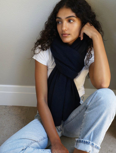 Cashmere Travel Wrap Deep Navy