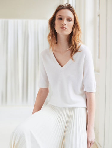 Cashmere Elbow Sleeve Tee Bright White