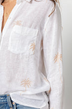 Load image into Gallery viewer, Charli Blouse Rose Gold Palm Trees