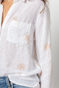Charli Blouse Rose Gold Palm Trees