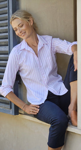 Barry Crinkle Button Up Pink Stripe