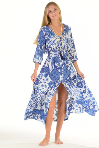 Kelsey Dress Indigo Ikat