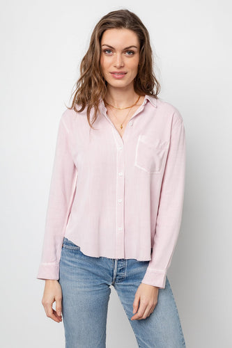 Ingrid Raw Hem Blouse Dusty Rose