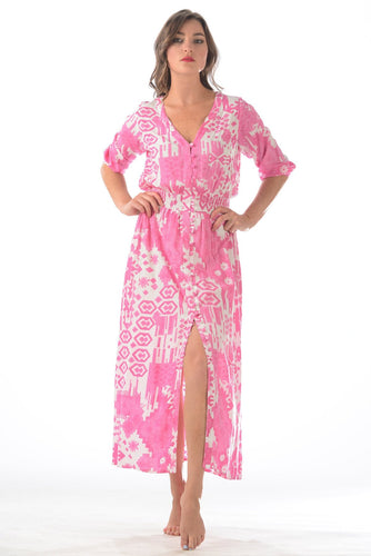 Kelsey Dress Hot Pink Ikat