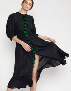 Laila Tassel Midi Dress Black