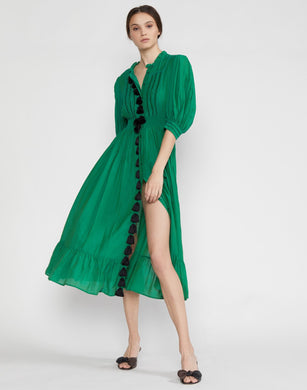 Laila Tassel Midi Dress Green