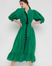 Load image into Gallery viewer, Laila Tassel Midi Dress Green