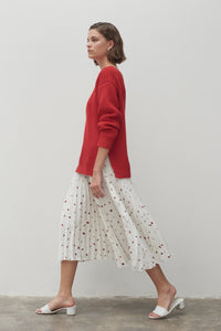 Field Pleated Silk Skirt