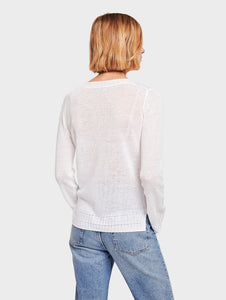 Linen Pointelle Ribbed V-Neck White