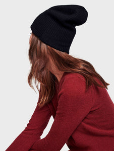 Cashmere Plush Ribbed Beanie Black