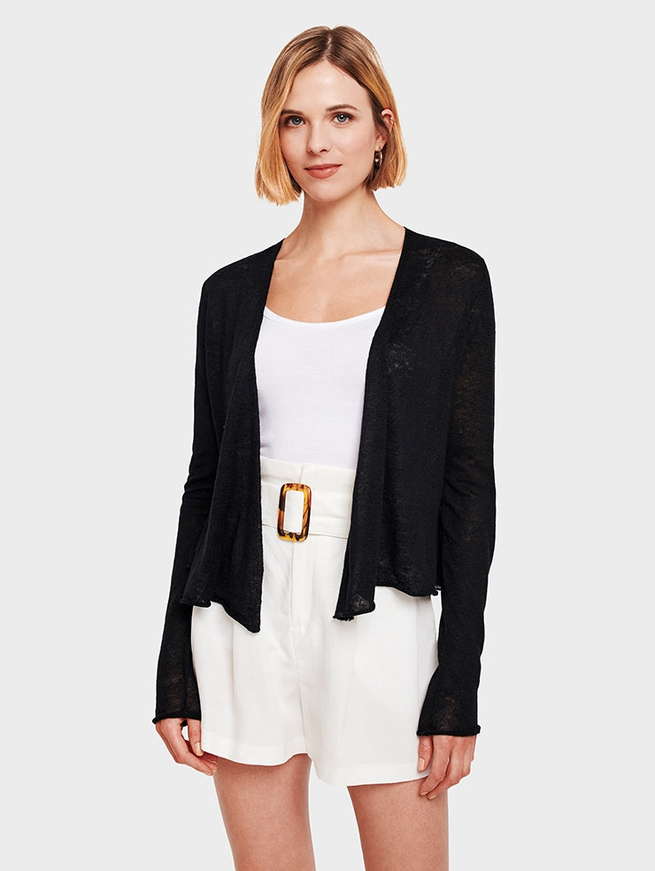 Linen Cropped Swing Cardigan Black