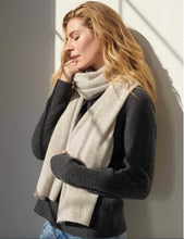 Load image into Gallery viewer, Woman standing and leaning against wall with eyes closed and one hand by her face. Wearing a grey wrap around her neck.