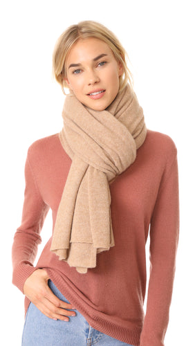 Cashmere Travel Wrap Camel Heather