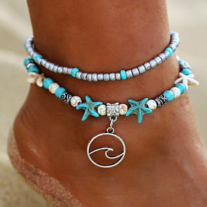 Multi-Layer Bohemian Wave Anklet