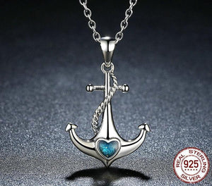 Sterling Silver & Crystal Blue Heart Anchor  Necklace