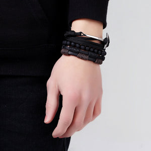 Multi-layer Rope, Bead & Leather Anchor Bracelet 3 Piece Set
