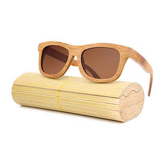 Hand-Crafted Unisex Bamboo Sunglasses (Light Brown Frame)