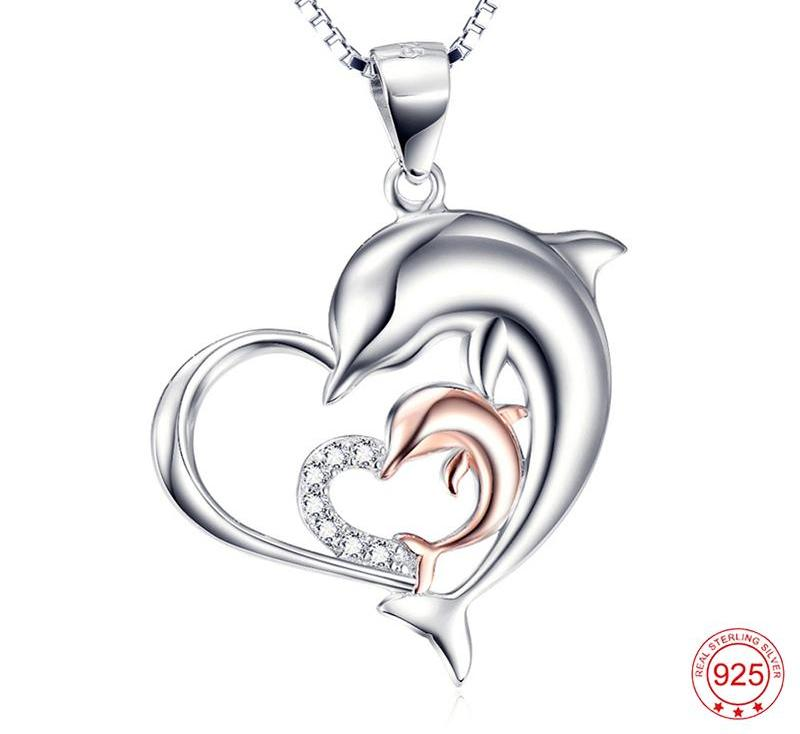 Sterling Silver Mother & Child Dolphin Heart Necklace