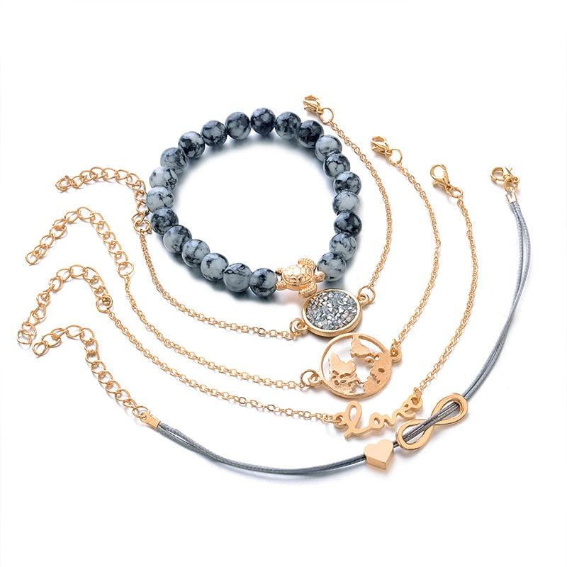 """Love Sea Turtles, Love the Earth"" Crystal Bead & Gold 5 Piece Bracelet Set"