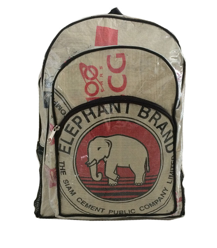 Recycled Backpacks - Upcycled Elephant Brand Cement Bags