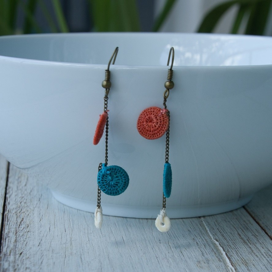 Dancing Earrings - Woven Sisal Discs