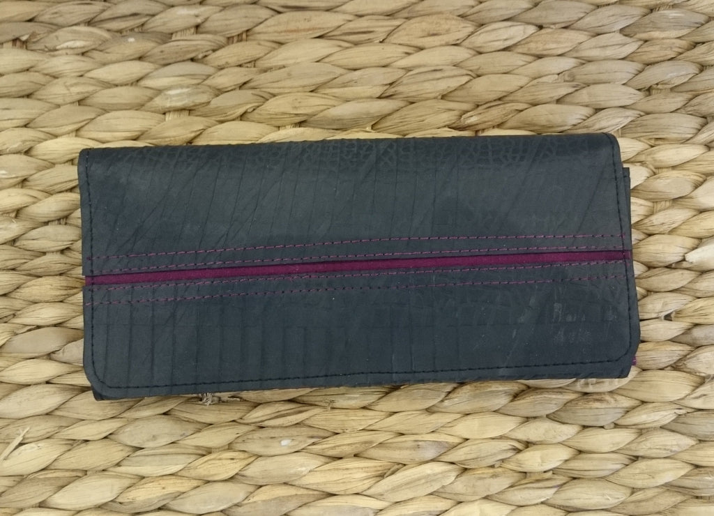 Ladies Long Purse/ Wallet - Recycled Rubber Tyre