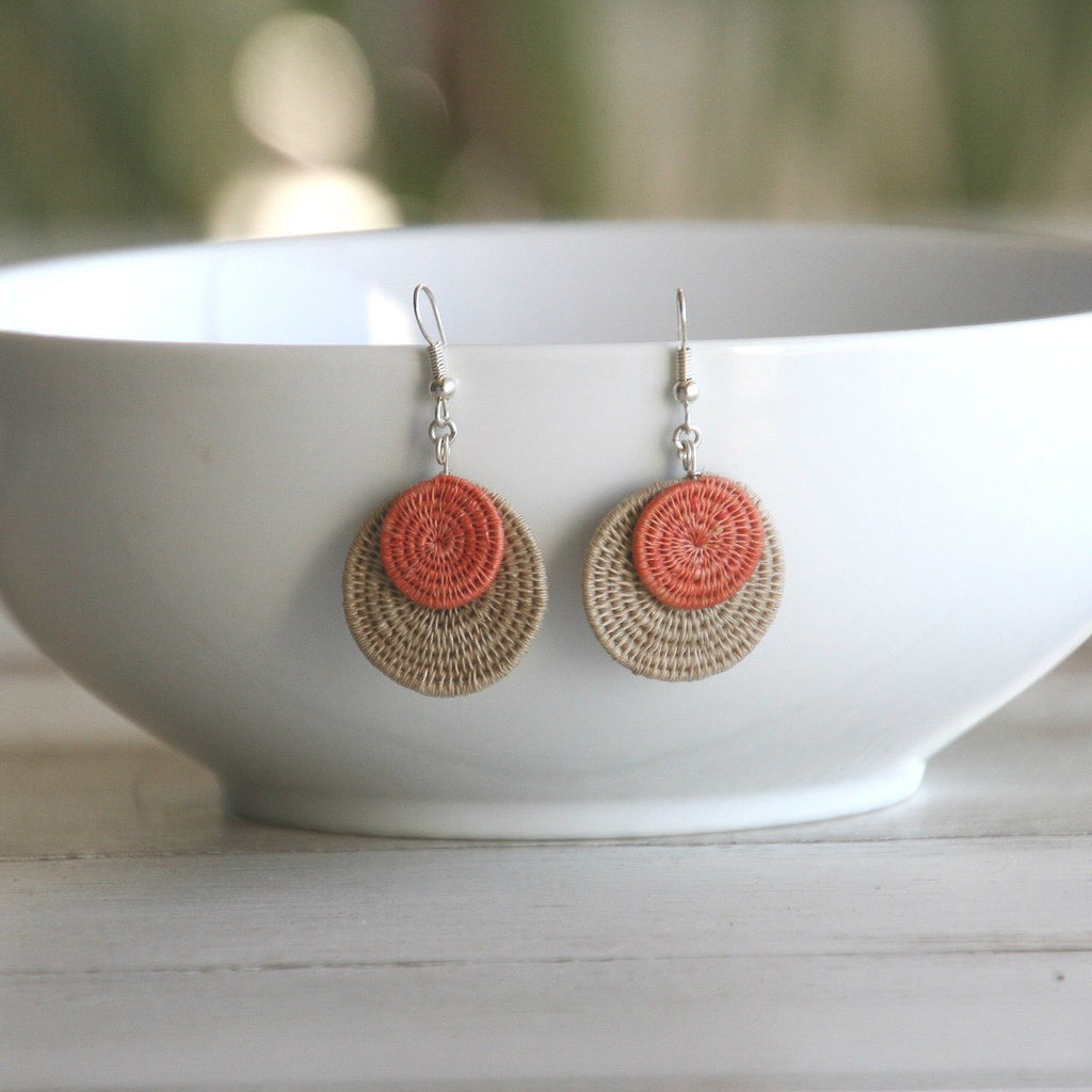 Eclipse Earrings - Hand Woven Sisal - Fair Trade