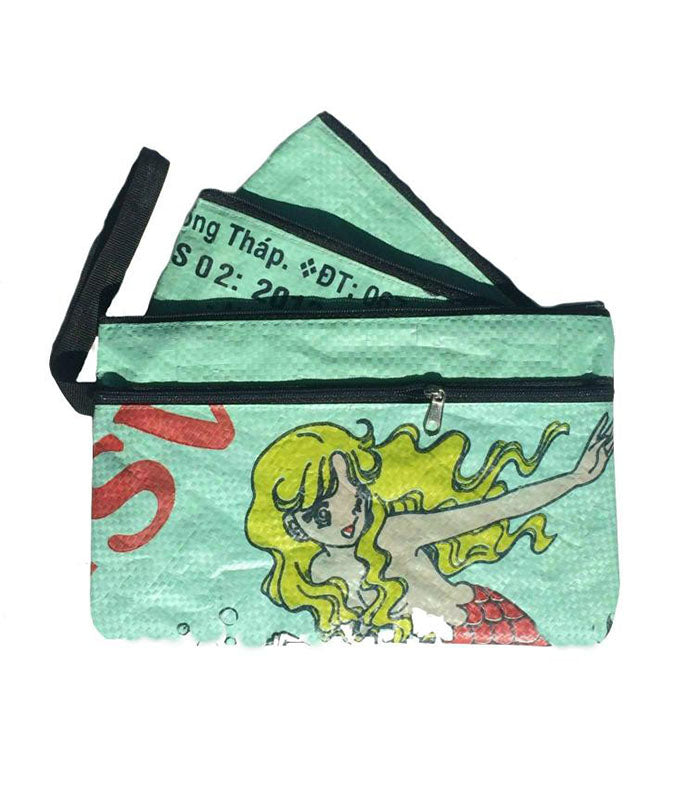 Three in One Purse/ Pencil Case - Recycled Fish
