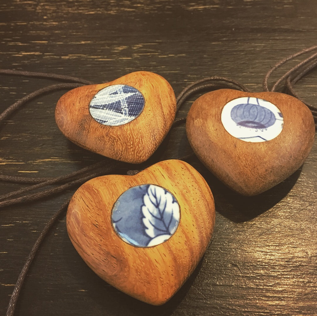 Wood & Japanese Porcelain Pendants