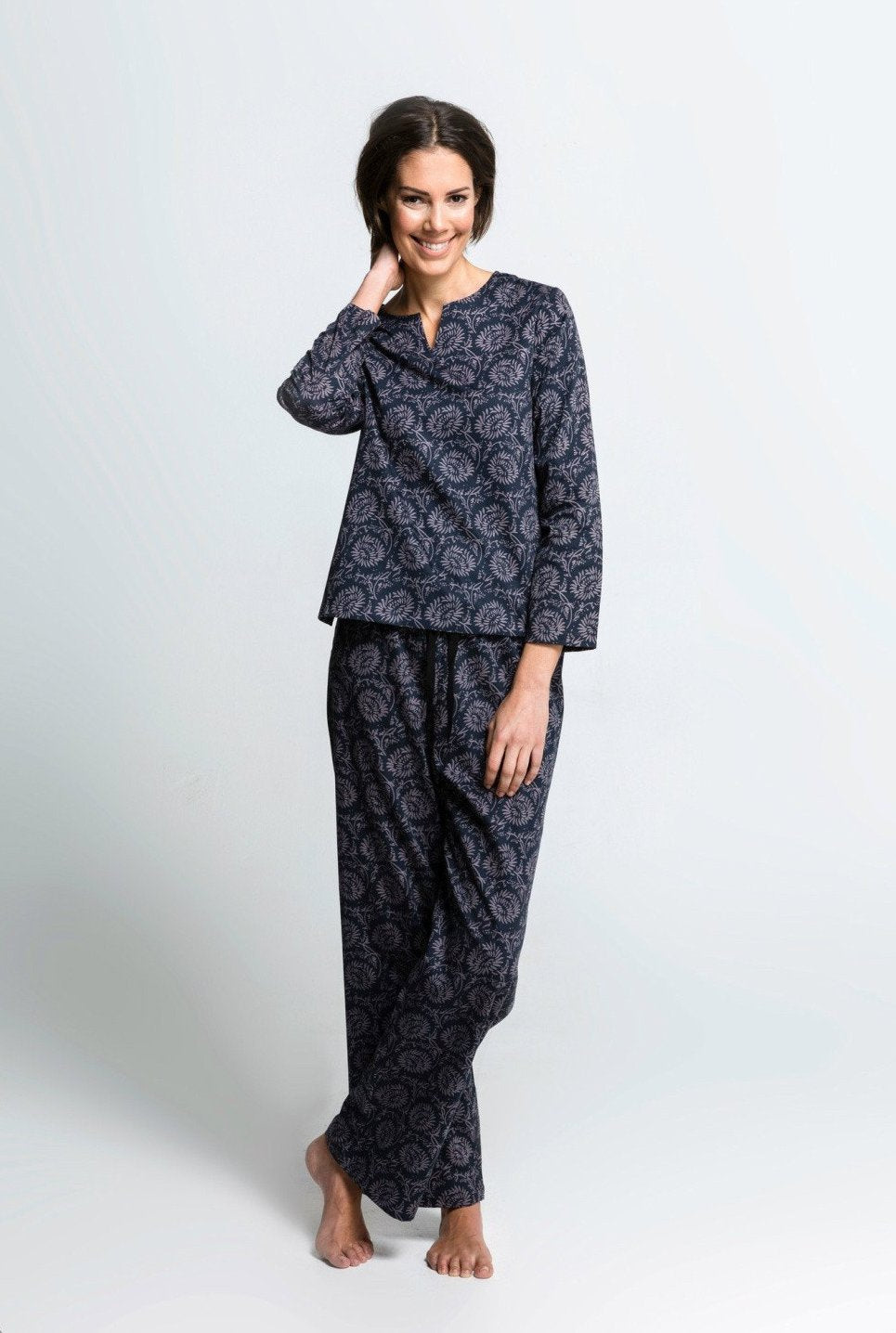 Dahlia - Organic Cotton Pyjamas - Tunic Top with Pants Set