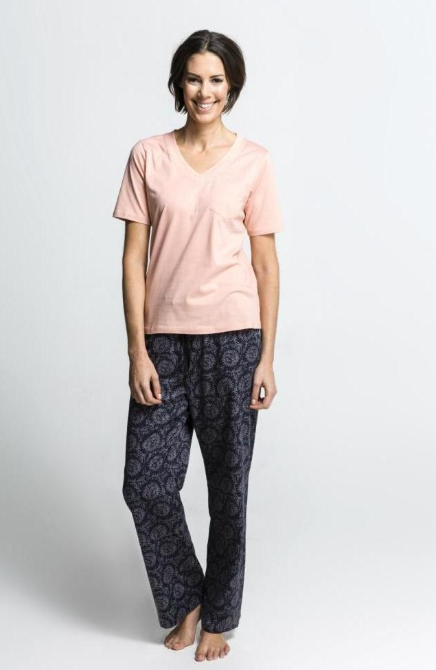Women's Ethical Organic Cotton Black Peach Pyjamas
