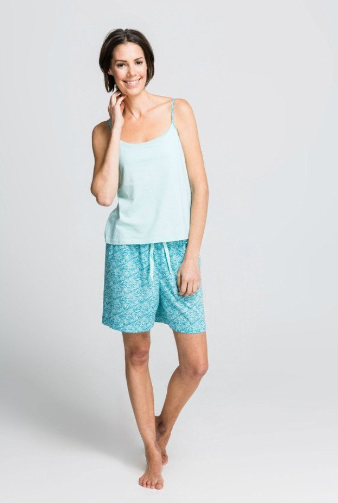 Sea Leaf - Strappy Singlet Top with Shorts - Fair Trade Pyjamas