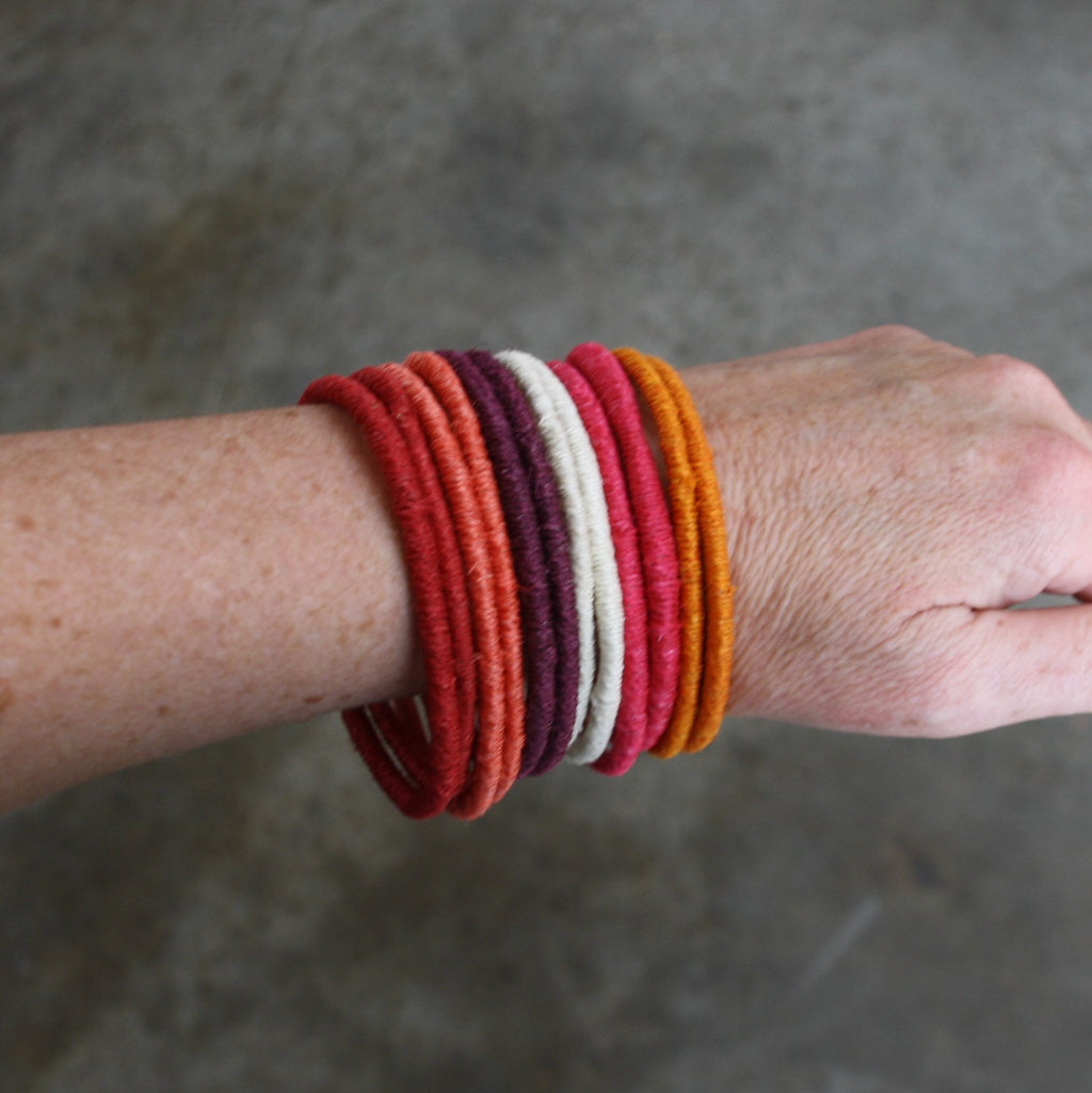 Sisal Bangles - Warm Colours - Set of 12, Fair Trade Bracelets