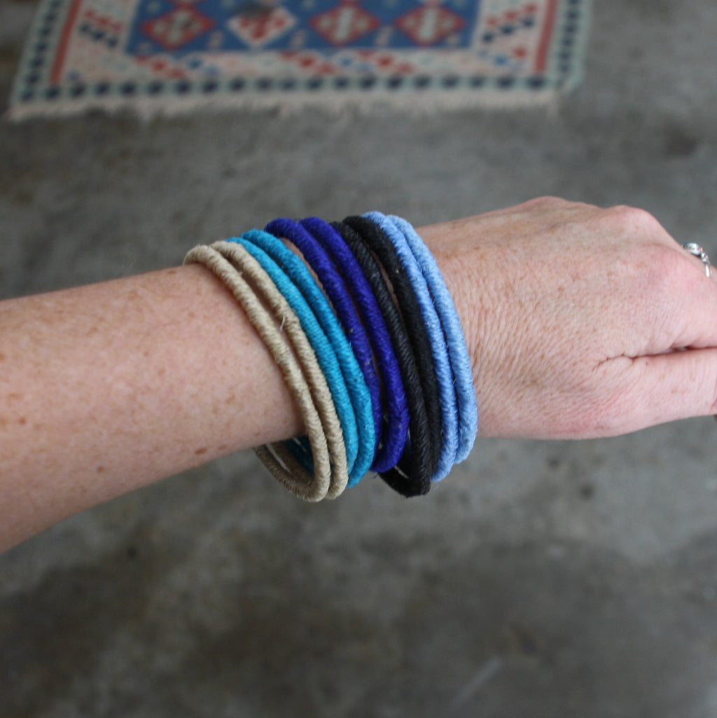 Sisal Bangles - Cool Colours - Set of 10, Fair Trade Bracelets