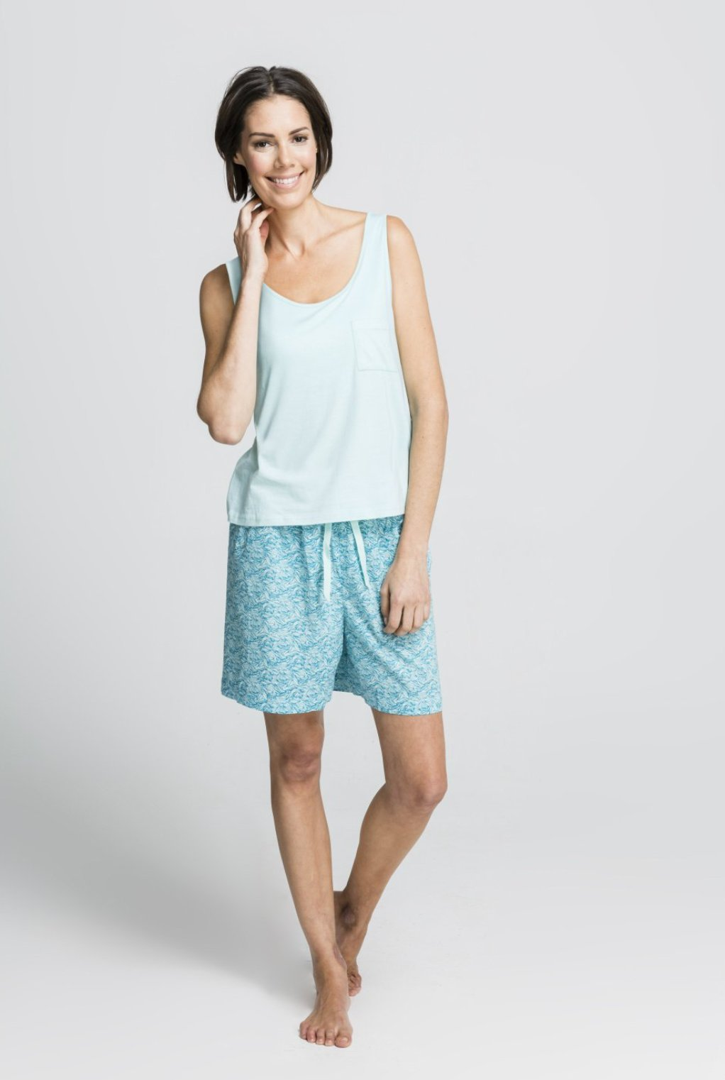 Sea Leaf - Loose Singlet Top with Shorts