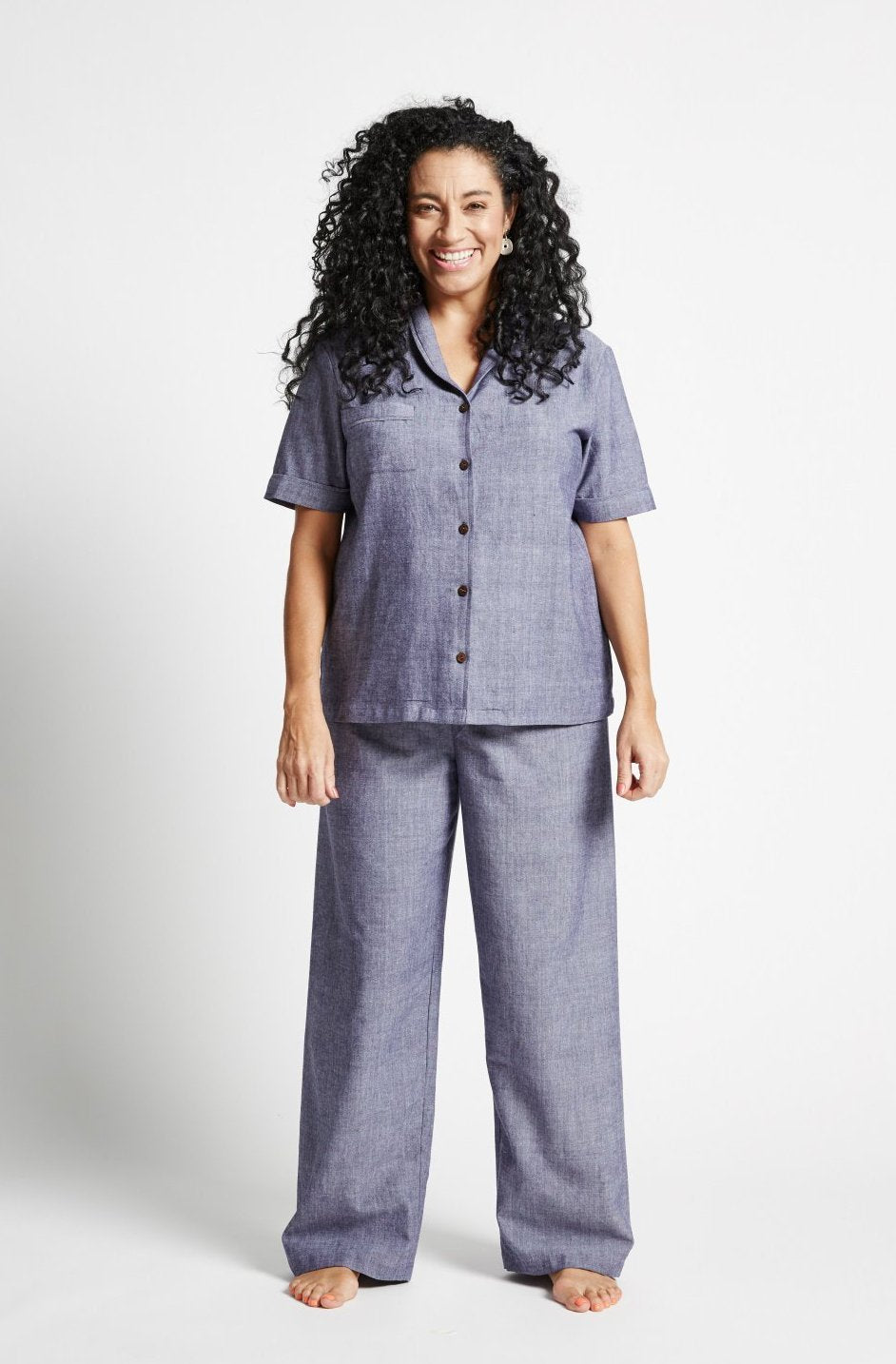 Navy Chambray - Woven Organic Cotton - Classic Top and Pants