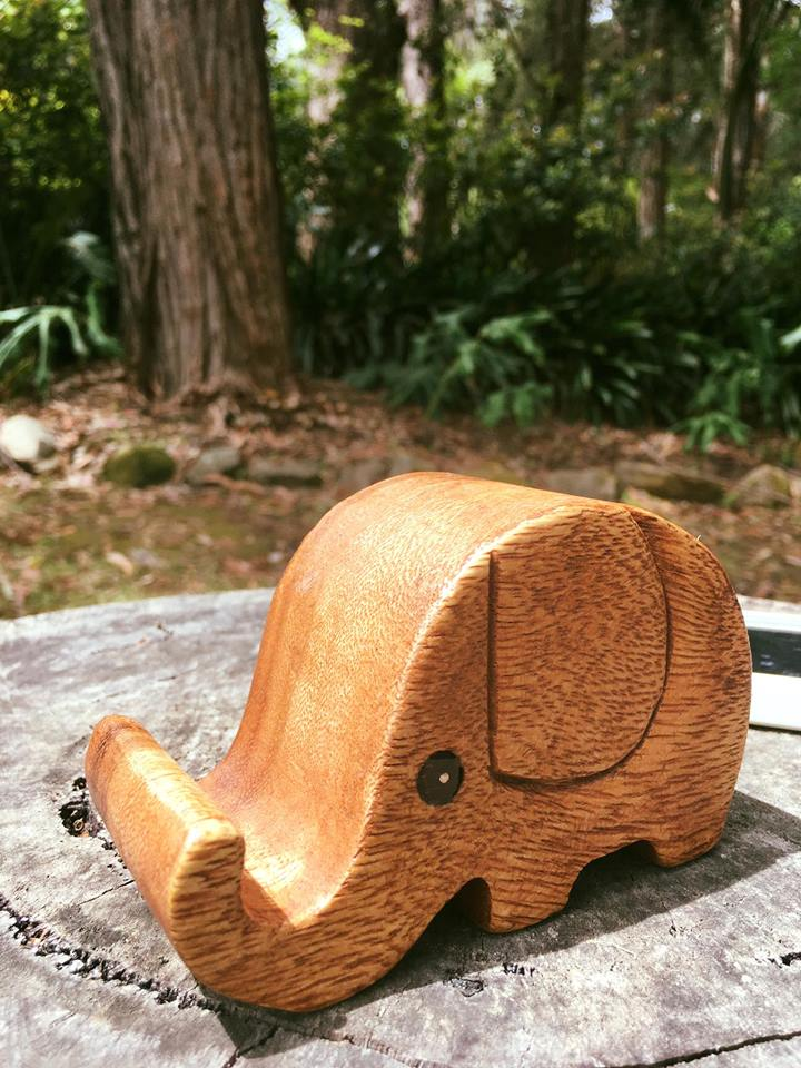 Wood Elephant Phone Holder - Fair Trade