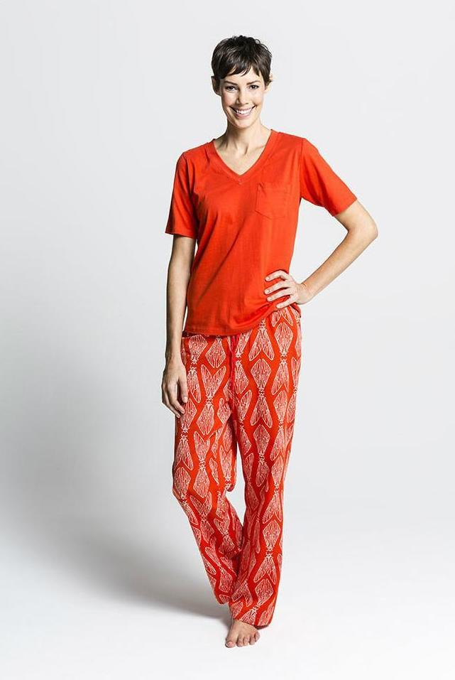 Women's Ethical Organic Cotton Red Pyjamas