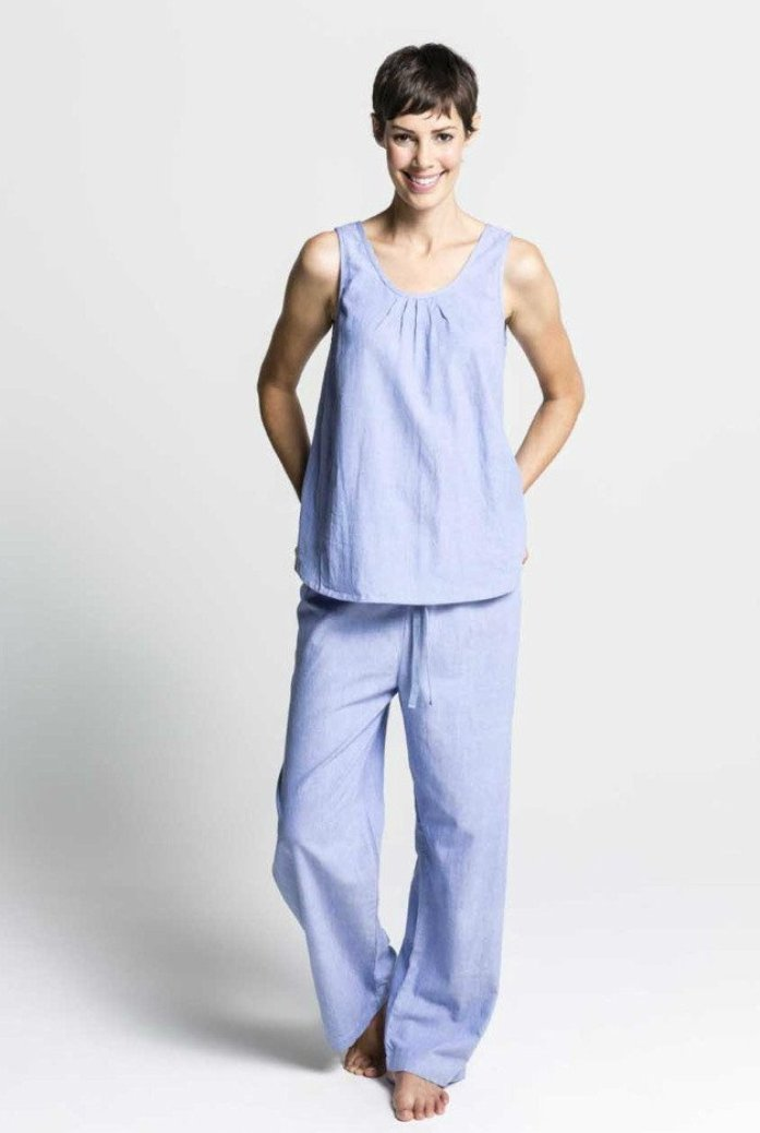 Women's Ethical Organic Cotton Blue Pyjamas