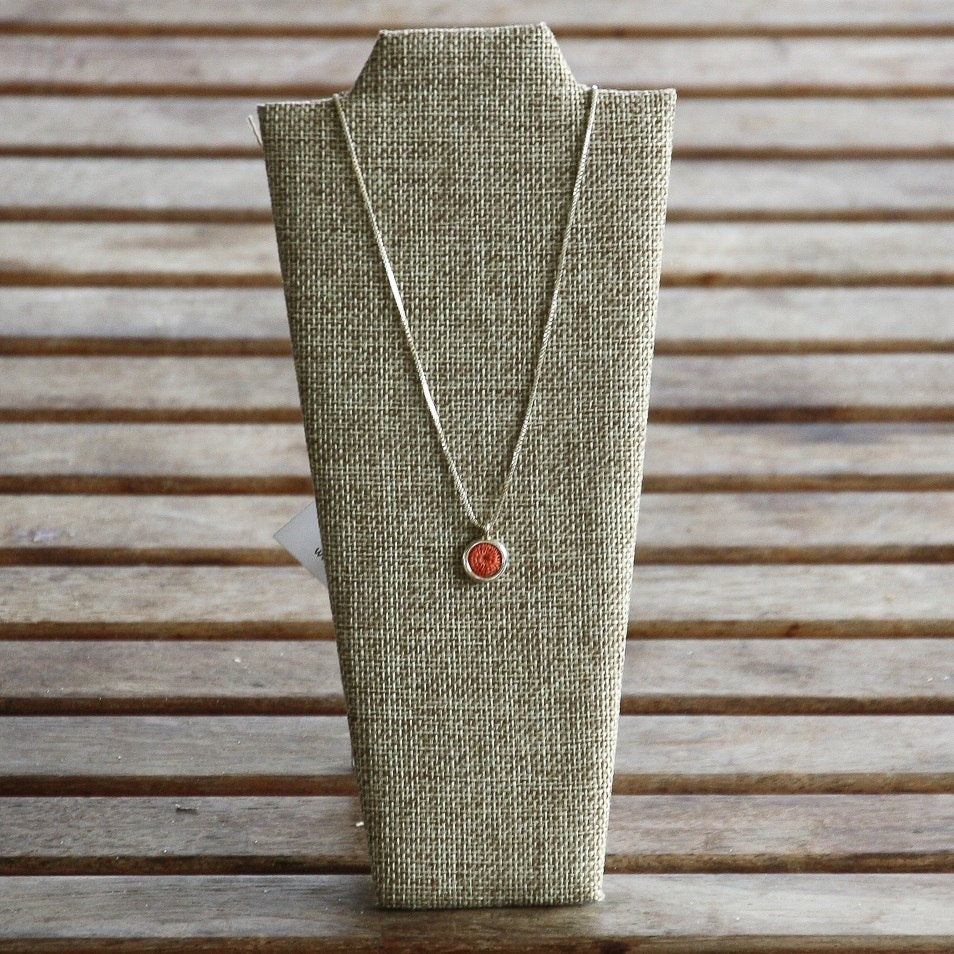 Classic Silver Necklace - Woven Sisal Disc - African Fair Trade