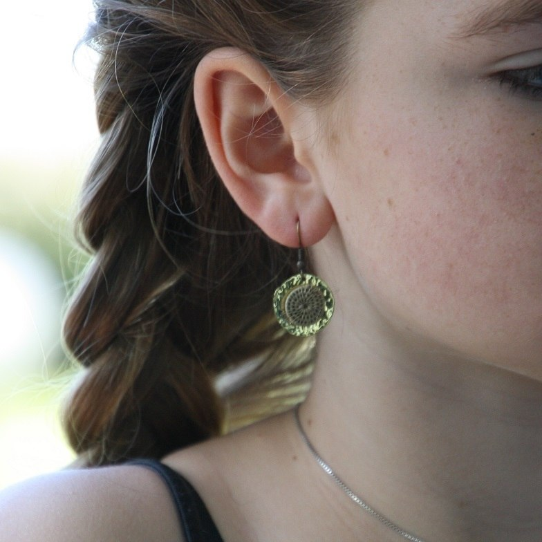 Sun Earrings - Woven Sisal & Brass